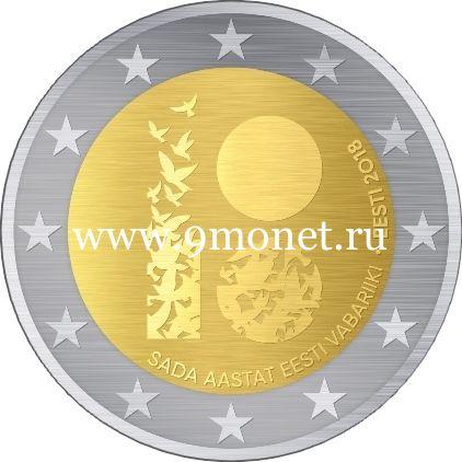 Эстония 2 евро 2018 года 100 лет Эстонской Республике