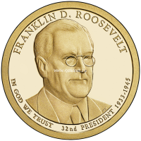 32 президент США 2014 1 доллар Franklin Roosevelt Франклин Рузвельт