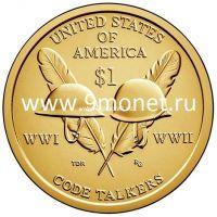 2016год. 1 доллар. США Сакагавея. code talkers UNC