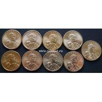 2000-2008 год. США. Набор 1 доллар Сакагавея Парящий орел.