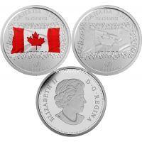 Канада набор 2 монеты 25 центов 2015 года. 50 лет флагу Канады.