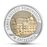 2016 год. Польша монета 5 злотых. Замок Поморских князей в Штеттине.