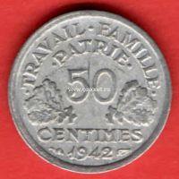 1942 год. Франция монета 50 сантимов.