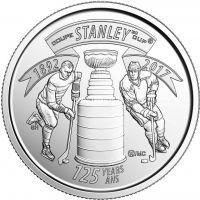 2017 год. Канада монета 25 центов. 125 лет Кубку Стенли.