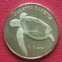 Мурева остров 1 доллар 2017 год Морская черепаха