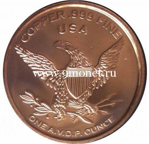 Олененок Бимбо. Монетовидный жетон. Унция меди 999. США.