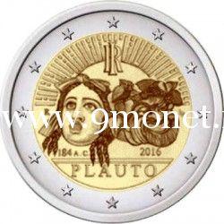 2016 год. Италия. Монета 2 евро. 2200 лет со дня смерти Тита Макция Плавта.