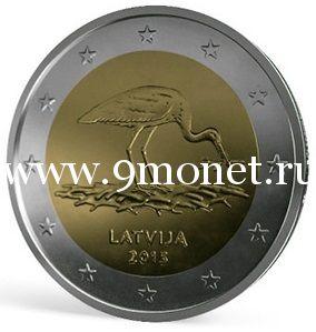2015г. 2 евро. Латвия. Чёрный аист.
