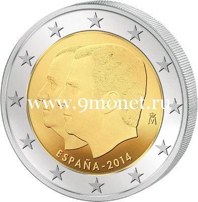 2014г. Испания. 2 евро. Король Филипп VI.