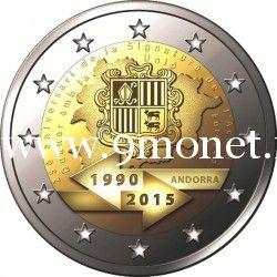 2015 год. Андорра. Монета 2 евро. 25-летие подписания таможенного соглашения с ЕС.