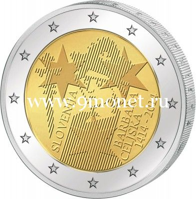 2014г. 2 евро. Словения. 600-летие коронации Барбары Цилли