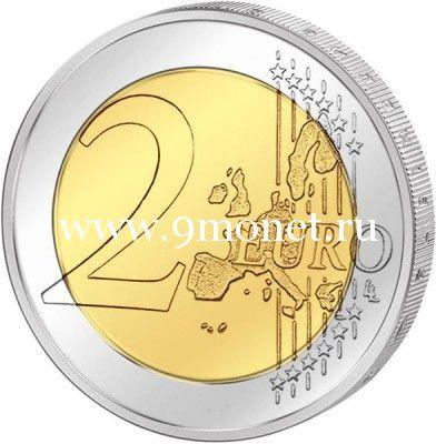 2015г. 2 евро. Эстония. 30 лет флагу Европы.