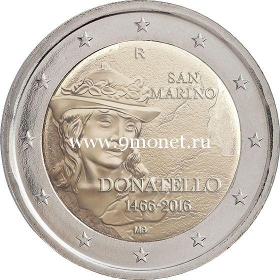 2016 год. Сан-Марино. Монета 2 евро. 550 лет со дня смерти Донателло.