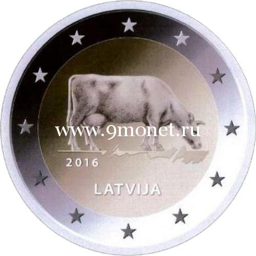 2016 год. Латвия. Монета 2 евро. Сельское хозяйство Латвии (Корова)