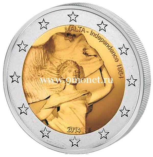 2014 г. 2 евро. Мальта. Независимость 1964 года.