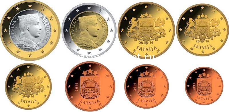 ЕВРО набор из 8-ми монет Латвия 2014 год