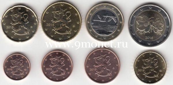 Набор евро монет Финляндии 2015 года. UNC