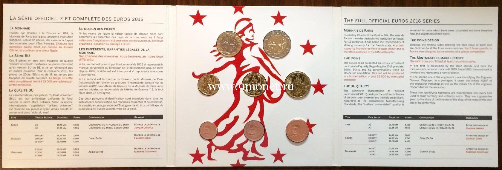 Годовой набор монет евро Франция 2016 год. BU (8 монет)