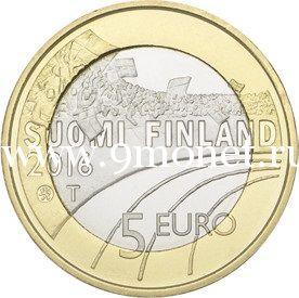 Монета 5 Евро. 2016 год. Финляндия. Хоккей с шайбой.