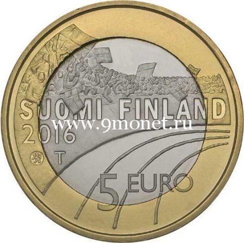 Монета 5 Евро. 2016 год. Финляндия. Легкая атлетика.