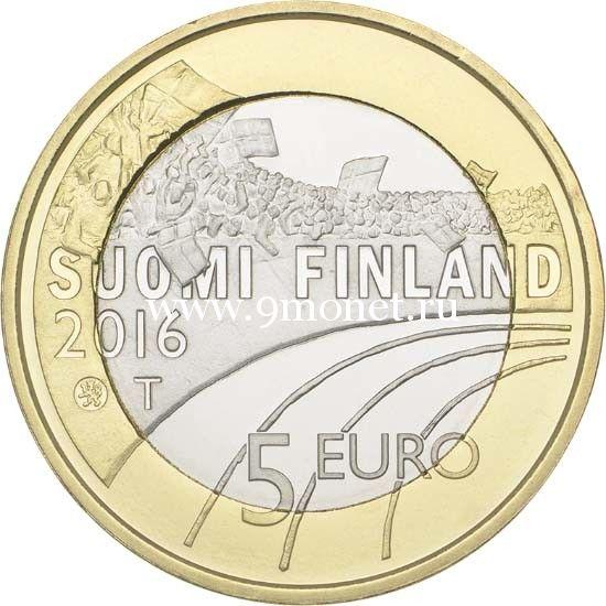 Монета 5 Евро. 2016 год. Финляндия. Футбол.