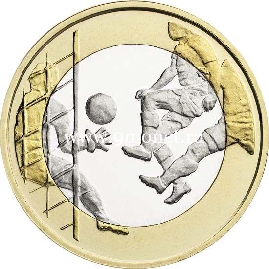 Финляндия монета 5 Евро 2016 Футбол.