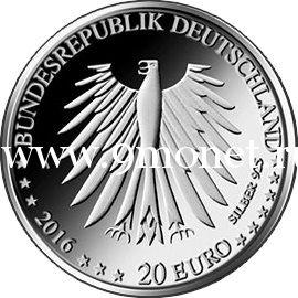 2016 год. Германия монета 20 евро. Красная Шапочка (серебро)
