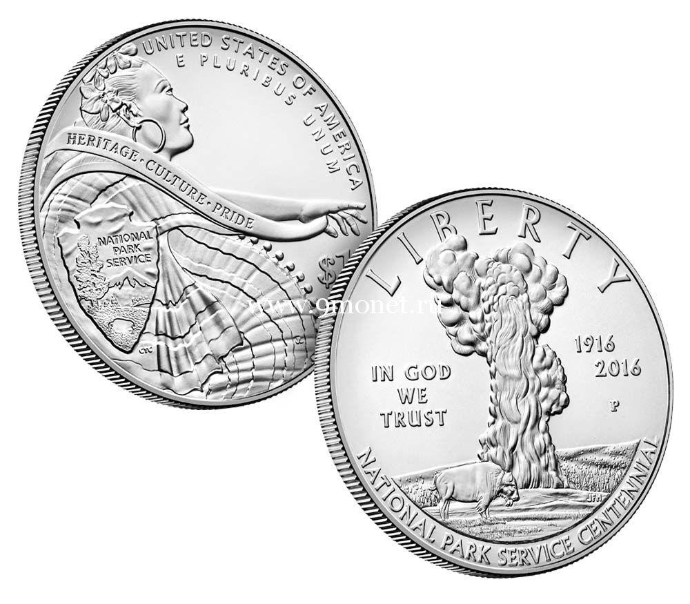 2016 г. США. 1 доллар. 100-летие Национальной парковой службы. серебро, UNC