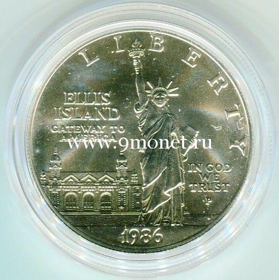 1986 г. США. 1 доллар. 100-летие Статуи Свободы Серебро 900. UNC