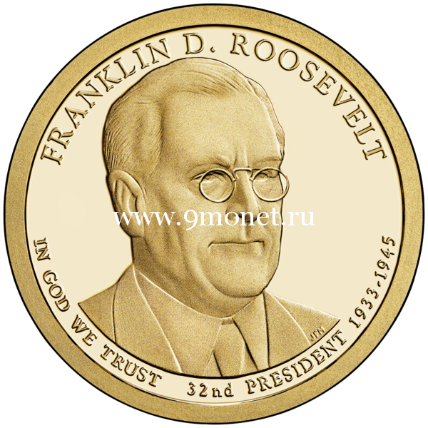 США 1 доллар 2014 года 32 президент Франклин Рузвельт (Franklin Roosevelt)