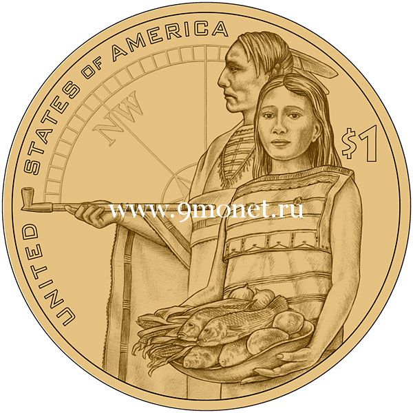 2014 год. 1 доллар США. Экспедиция Льюиса и Кларка.