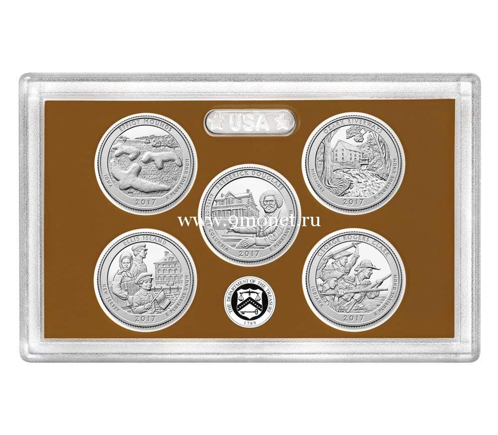 2017 г. США. Набор из 5 монет, 25 центов Национальные парки. Proof Set.