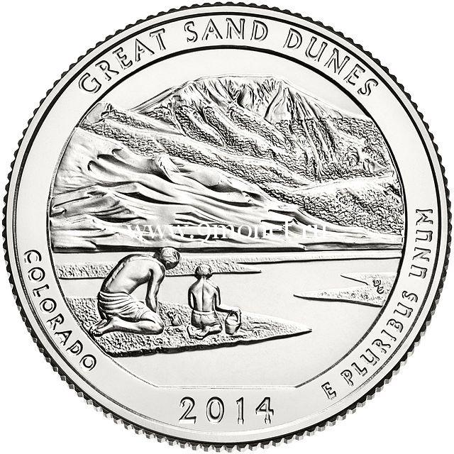 2014. 25 центов. 24 Национальный парк Грейт-Санд-Дьюнс.