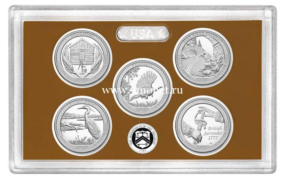 2015 г. США. 25 центов. Национальные парки (набор из 5 монет), Пруф