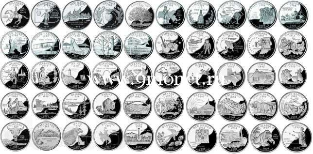 Полный набор монет 25 центов штаты и территории 1999-2009 г.