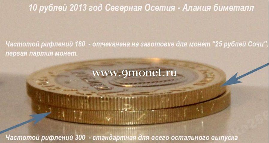 2013 год. Россия монета 10 рублей. Северная Осетия (Алания) с гуртом 180 рифов.