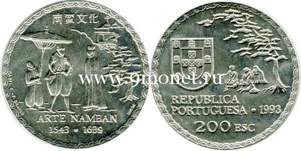 Португалия 200 эскудо 1993 года 450 лет искусству намбан.