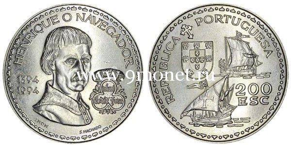 Португалия 200 эскудо 1994 года Португальский инфант Генрих Мореплаватель.