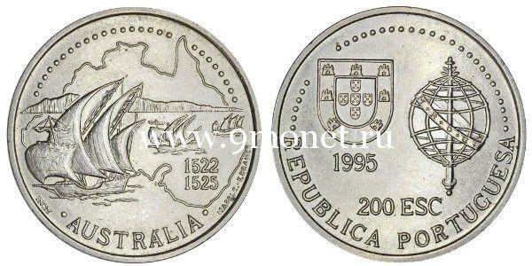 Португалия 200 эскудо 1995 года Неофициальное открытие португальцами Австралии в 1522 году.