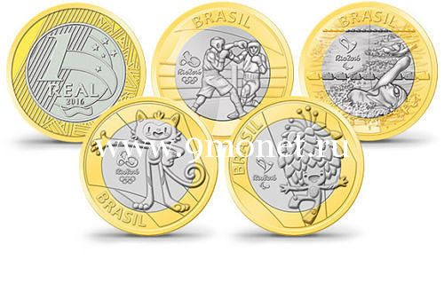 Бразилия. набор из 4 монет. 1 реал 2016г. Олимпиада в Рио де Жанейро. 4 выпуск.