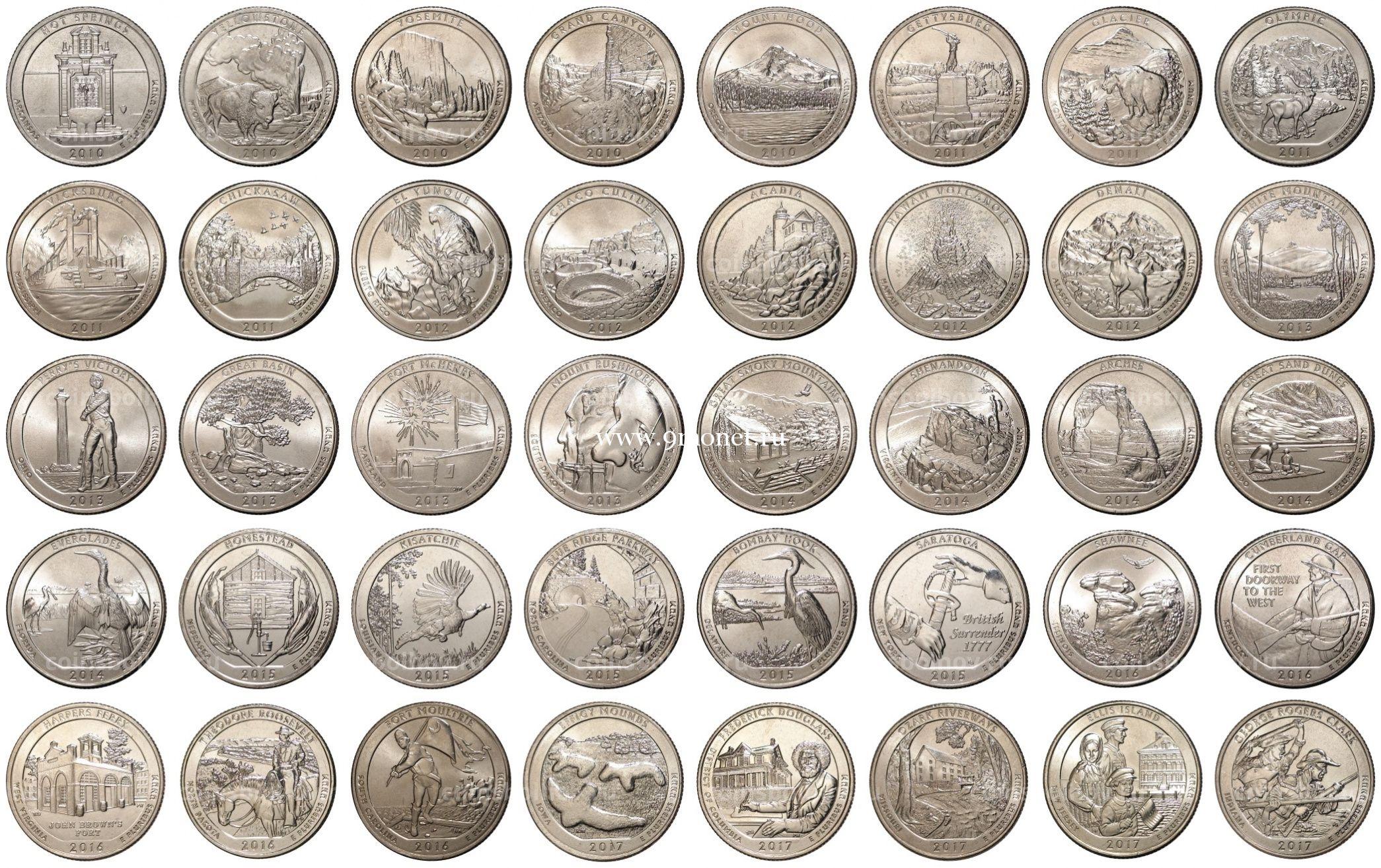 Набор монет 25 центов США национальные парки 2010-2020 г.