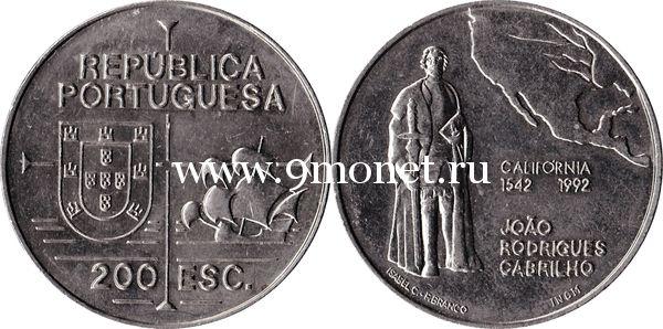 Португалия 200 эскудо 1992 года 450 лет открытию Калифорнии.