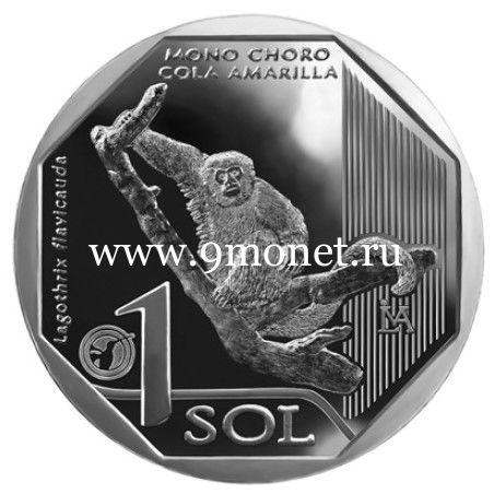 Перу монета 1 соль 2019 года Обезьяна.