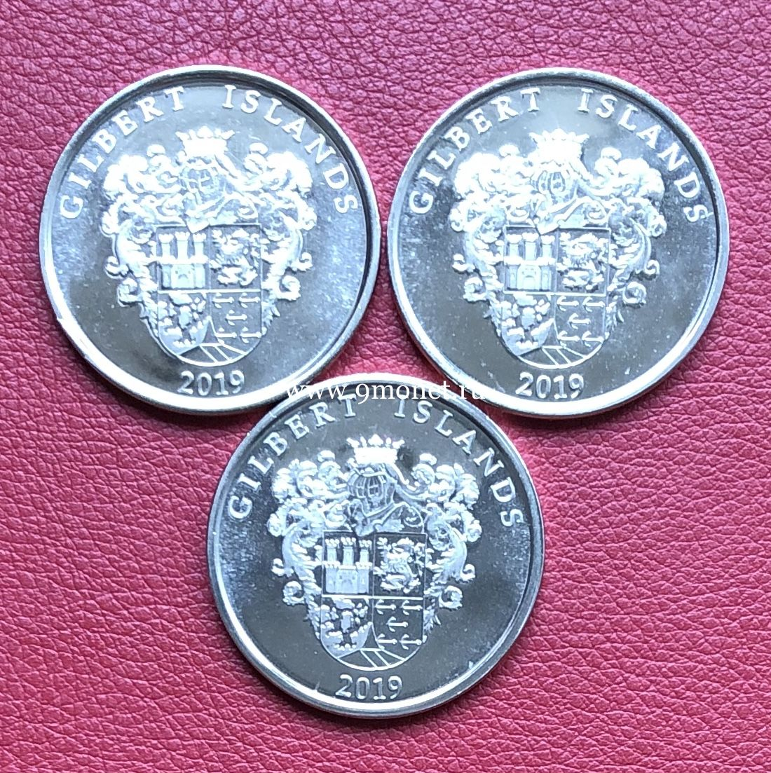 Острова Гилберта набор монет 1 доллар 2019 года Корабли парусники.
