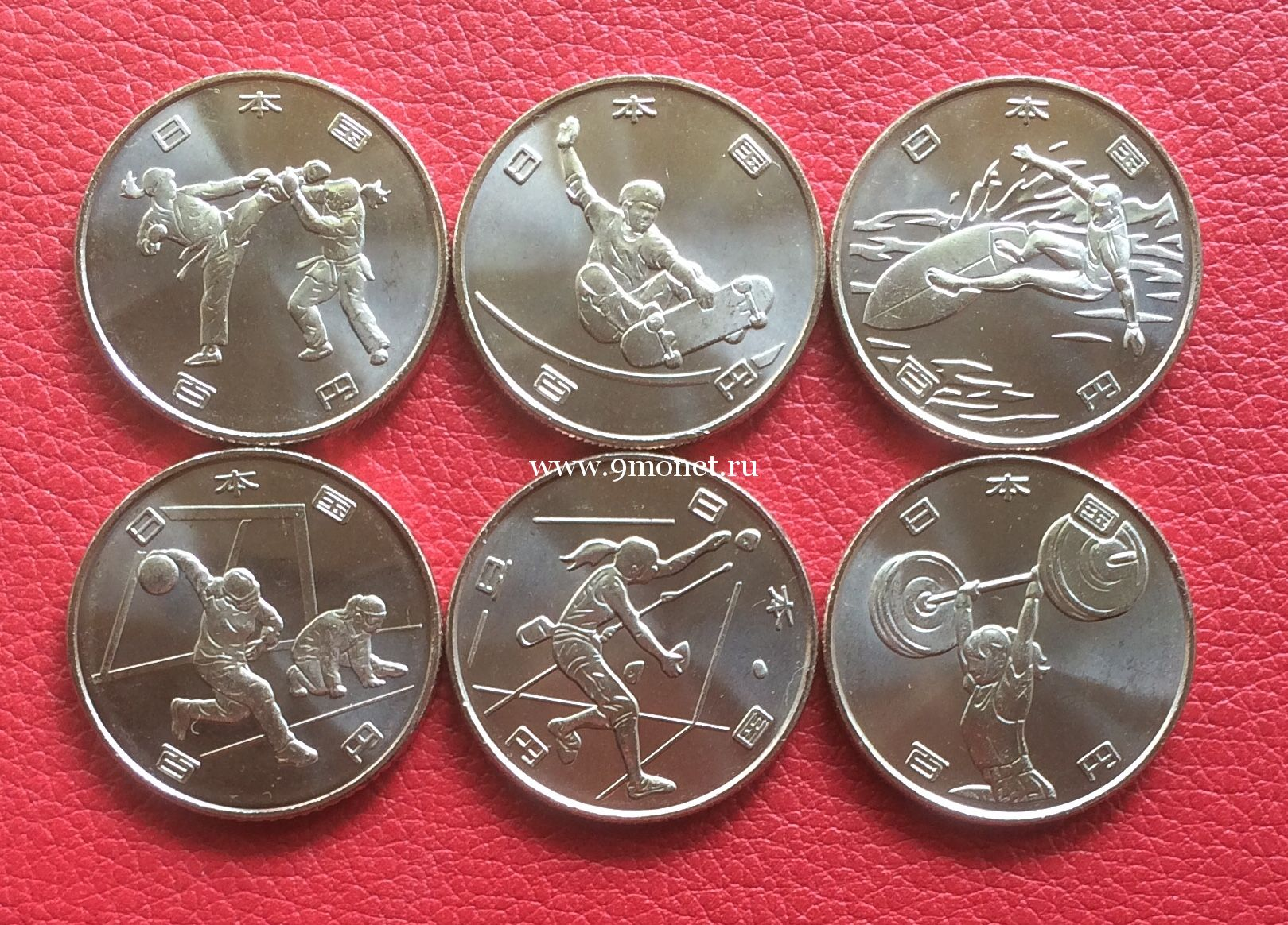 Япония набор 6 монет 100 йен Олимпийские игры в Токио 2020.