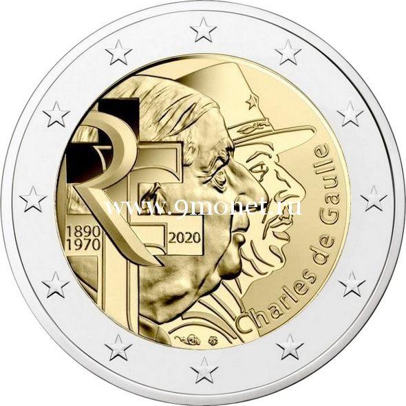 Франция 2 евро 2020 года Шарль де Голль.