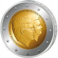2014г. 2 евро.  Нидерланды. Принц Виллем и королева Беатрикс.
