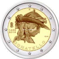 2016 год. Италия. Монета 2 евро. 550 лет со дня смерти Донателло.