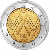 2014г. 2 евро. Франция. Всемирный день борьбы СПИДом.