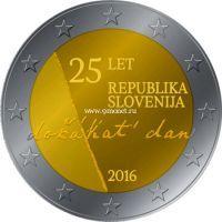 2016 год. Словения. Монета. 2 евро. 25-летие независимости Словении.
